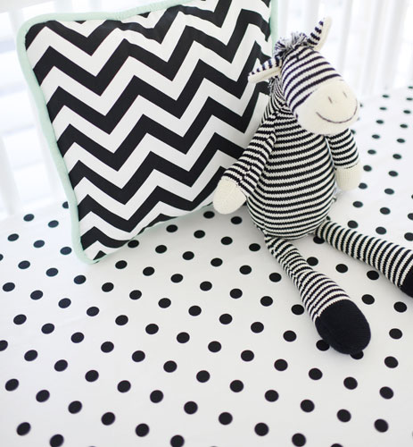 black polka dot crib sheet black and white chevron collection