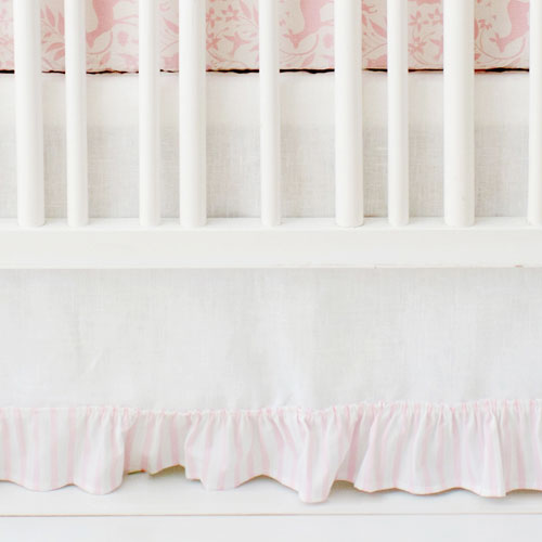 pink and white crib skirt tailored crib skirt with pleat baby crib bed skirt