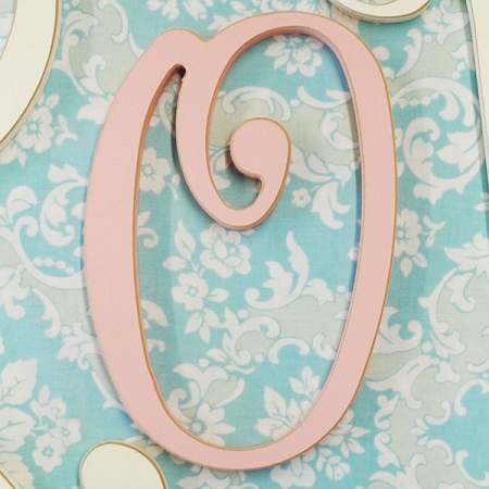 pink cursive wooden hanging letters