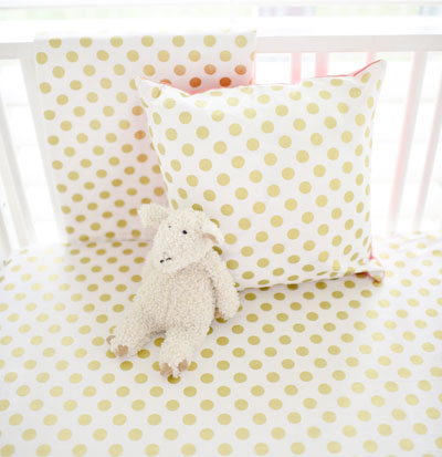 Coral Nursery Set | Gold Polka Dot in Coral Bumperless Collection - Gold And Coral Girl Crib Rail Cover Set Gold Crib Bedding