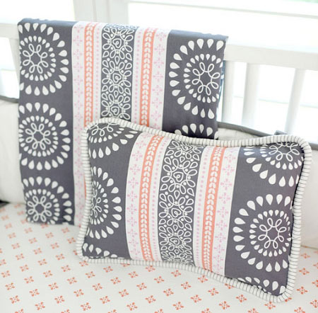 coral and gray pillow harper in coral crib collection - Grey Throw Pillows
