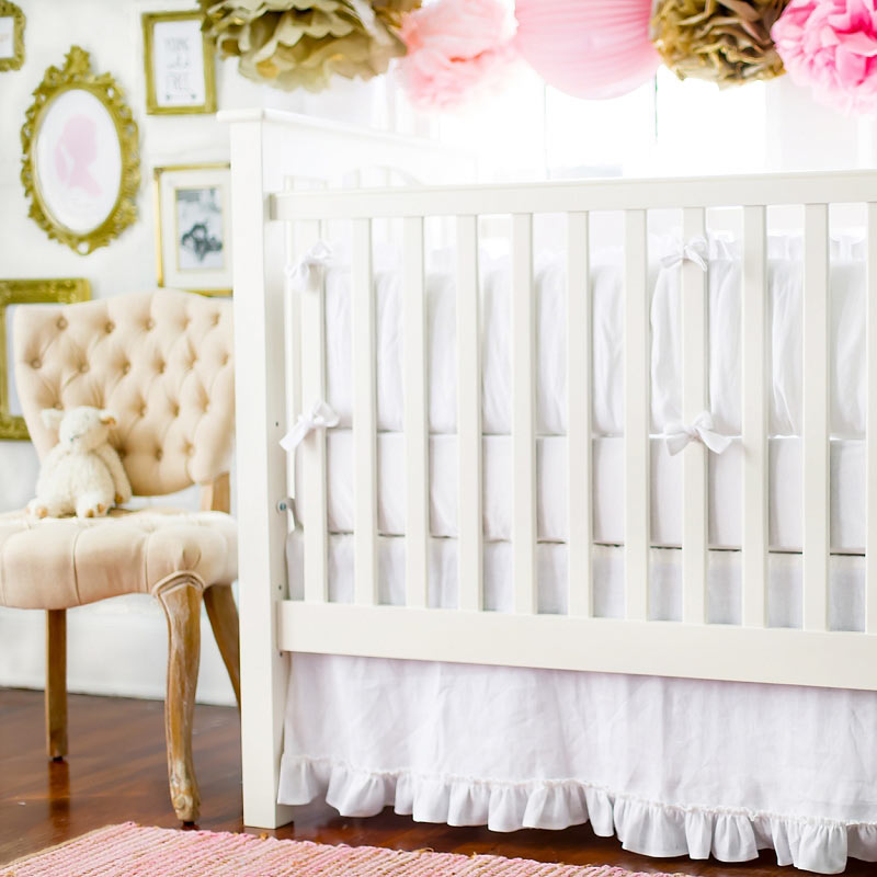 white baby cribs walmart crib with attached changing table cot for sale cape town linen bumper pads neutral