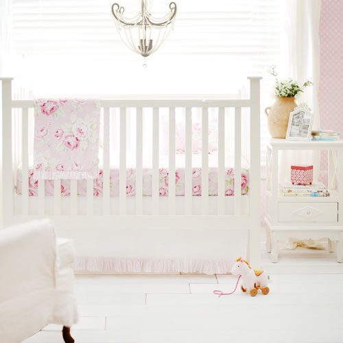 Pink floral crib bedding pink baby girl bedding pink Baby girl bedding