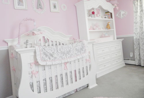Pink and Grey Crib Bedding Sets: Stella Gray Nurseries