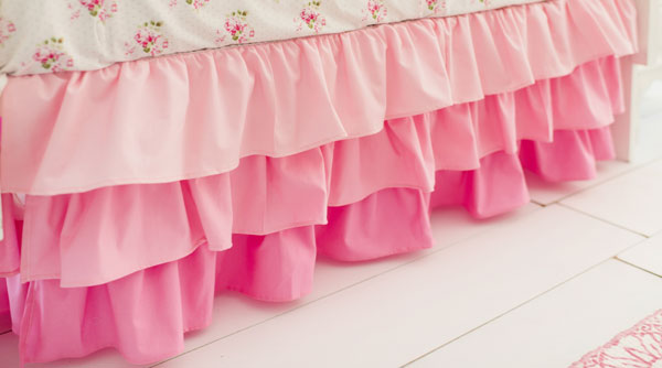 Pink Ruffled Crib Skirt Baby Girl Bedding Pink Nursery