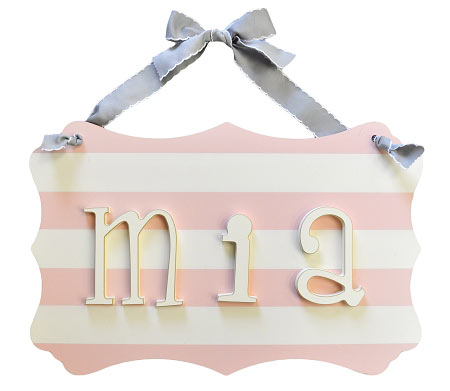 Stripe Name Plaque: Gray, Pink or Navy