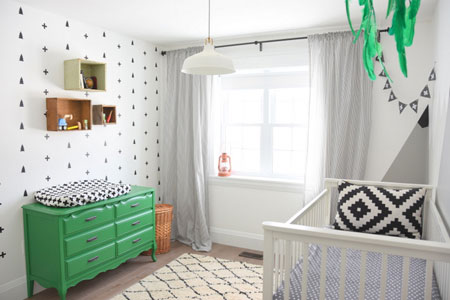 From the decal walls, rustic shelving and bright green dresser, this modern  nursery is fresh, bright and fun. Before Gemma began the task of designing  this ...