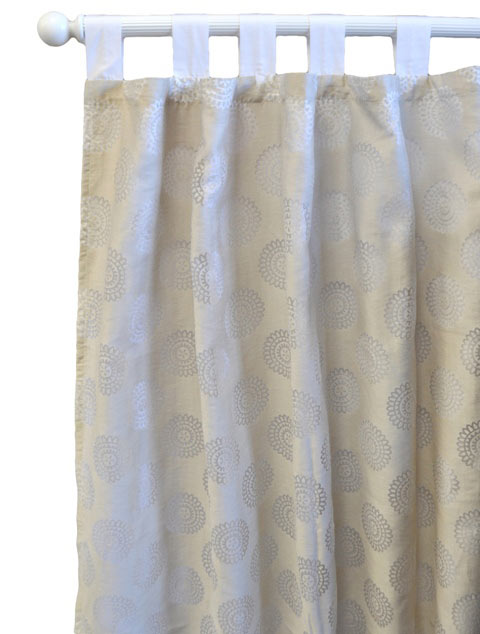White/Khaki/Chocolate Curtain Panels