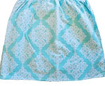 Custom Ruffled Aqua Lace Damask Crib Skirt