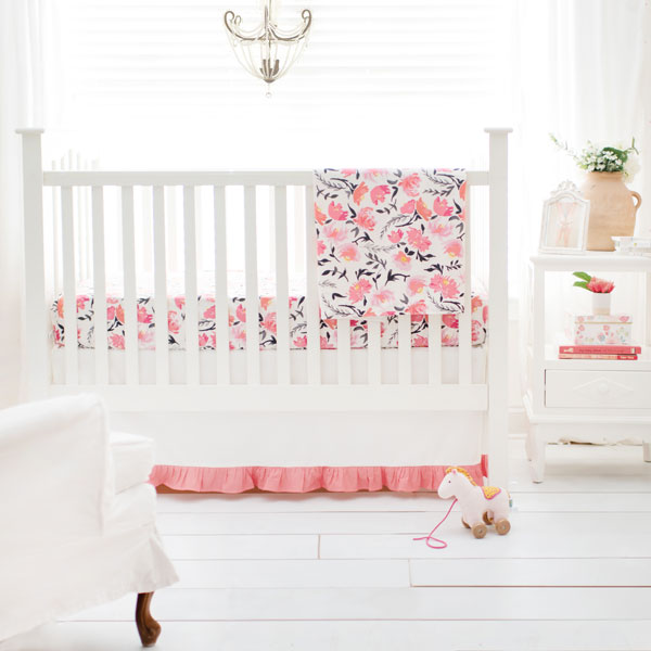 Floral Nursery Set | Rosewater in Coral Crib Collection - Unique Baby Girl Bedding Baby Girl Crib Bedding Sets Baby Girl