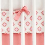 Coral Pink & Gold Tribal Crib Sheet | Aztec Baby in Pink & Gold Collection