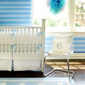 White and Blue Baby Bedding | White Pique Crib Collection