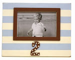 2nd Birthday Frame in Blue and Chocolate