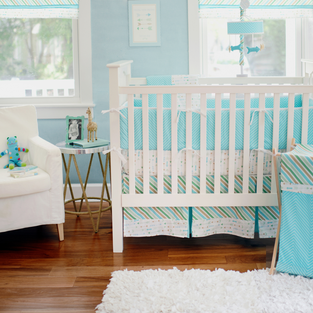 neutral baby bedding unisex crib bedding - our new follow your arrow in aqua from my baby sam is also a neutral babybedding option as it has aqua khaki and tan colors green gold aqua andnavy