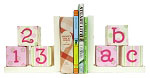 Wooden Bookends - Pink and Green