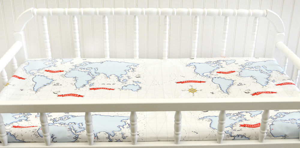 Red navy map changing pad cover changing pad cover navy red navy map changing pad cover around the world crib collection gumiabroncs Images