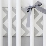 Gray Chevron Crib Sheet | Zig Zag in Slate Collection