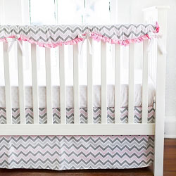 Pink and Gray Chevron Crib Rail Guard Set | Peace, Love & Pink Crib Collection