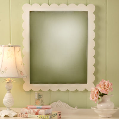 White scalloped mirror kids mirror nursery mirror girls for Mirrors for kids rooms