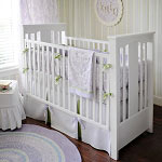 Sweet Lavender Damask Crib Bedding