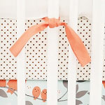 Chocolate Polka Dot Crib Sheet | Feather Your Nest in Aqua Collection
