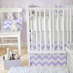 Lavender Chevron Baby Bedding | Zig Zag Baby in Lavender Crib Collection