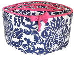 Navy & Pink Bumper, Skirt & Contoured Changing Pad Cover