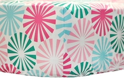 Pink, Aqua & Green Modern Crib Sheet | Round About Collection