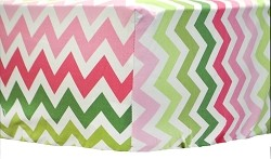 Pink & Green Chevron Crib Sheet | Watermelon Collection