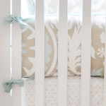 Khaki & Aqua Crib Bumper | Picket Fence Collection