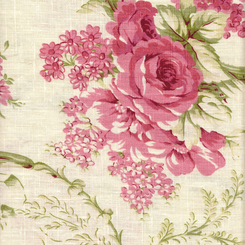 NEW 100% COTTON vintage FLORAL Rose Green Fabric BY THE ... |Vintage Floral Fabric