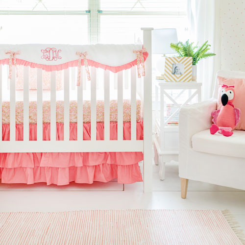 Quick View - Coral Crib Rail Cover Set Coral & Gold Baby Bedding Baby Girl