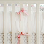 Pink & White Crib Bumper | Stella Gray Collection