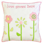 Love Grows Here Embroidered Throw Pillow