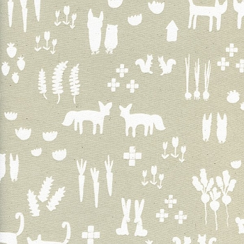 Tan and White Woodland Fabric | Cotton + Steel | This + That - Linen