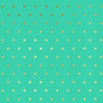 Cotton and Steel Teal and Gold Fabric
