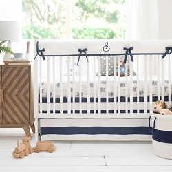 Navy and Gray Arrow Nursery Bedding | Aim High Crib Collection