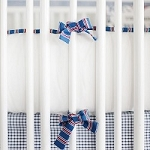 White Crib Bumper with Navy & Red Stripe Trim | All Star Crib Collection
