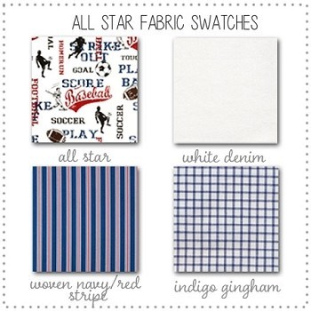All Star Bedding Collection Fabric Swatches Only