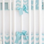 White & Aqua Crib Bumper | Anchors Away in Aqua Crib Collection