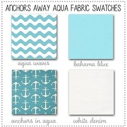 Anchors Away in Aqua Crib Collection Fabric Swatches Only