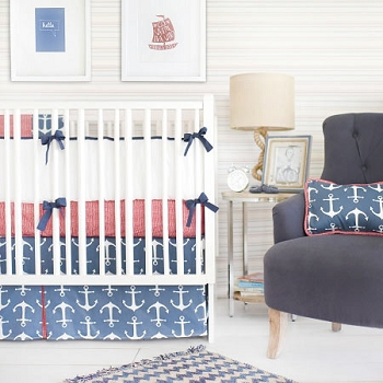 Red and Navy Nautical Baby Bedding | Anchors Away in Navy Crib Collection