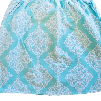 Ruffled Aqua Lace Damask Crib Skirt