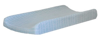 Aqua Herringbone Changing Pad Cover  |  Vroom Crib Collection