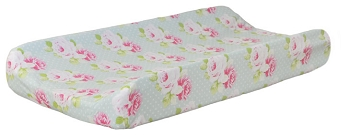 Aqua Floral Changing Pad Cover | Sadie's Dance in Aqua Crib Collection