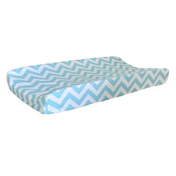Aqua Chevron Changing Pad Cover | Orange Crush Crib Collection