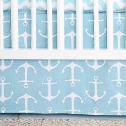 Aqua Nautical Crib Skirt | Anchors Away in Aqua Crib Collection