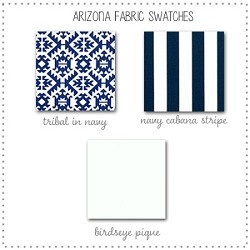 Arizona in Navy Bedding Crib Collection Fabric Swatches Only