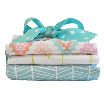 Aqua and Gold Burp Cloth Set | Flight Arrow Crib Collection