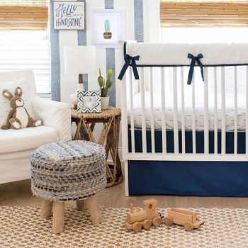 Arrow Crib Rail Guard Set | Navy Arrow Crib Collection